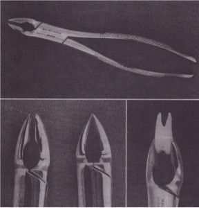 A, Superior view of no. 150A forceps. B, No. 150A forceps have parallel beaks that do not touch in distinction from 150 forceps beak. C, Adaptation of no. 150A forceps to maxillary premolar