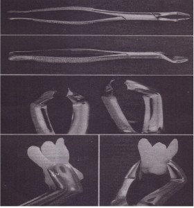 A, .Superior view of the no. 53L forceps. B, Side view of no. 53Uorceps. C, Right, No. 53l; left, no. 53R. 0 andE, No. 53L adapted to maxillary molar