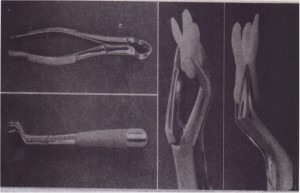 A, Superior view of no. 88L forceps. B, Side view of no. 88L forceps. C, No. 88R adapted to maxiliary molar.