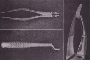A, Superior view of no. 286 forceps. 8, Side view of no. 286 forceps. C, No. 286 adapted to broken root