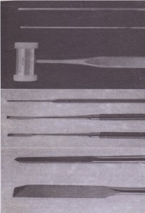 A, Surgical chisel and mallet can be used for removing bone and sectioning teeth. B, Additional chisels are straight unibevel chisel, curved unibevel chisel, or straight bibevel chisel. C, A close-up view of the chisel working end shows the bibevel end, the straiqht unibevel end, and the curved unibevel end.