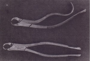 Straight handles are usually preferred, but curved handles are preferred by some surgeons.
