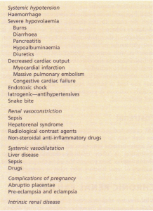 Some causes of acute tubular necrosis.
