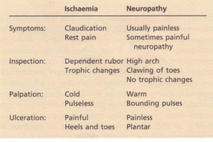 Distinguishing features between ischaemia and neuropathy in the diabetic foot.